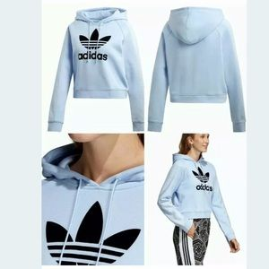 Adidas Cropped Hoodie Periwinkle Blue Sweater NEW
